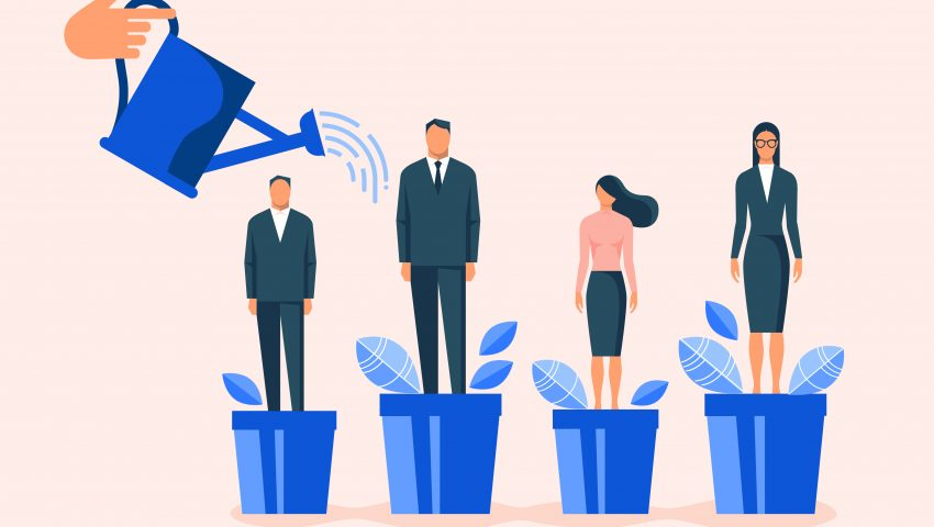 "alt=""watering employees in flowerpots illustration for career development and professional growth"""